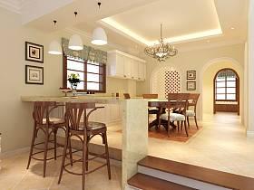 美式混搭混搭风格餐厅吧台别墅装修效果展示