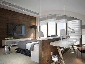 现代卧室复式楼电视背景墙设计案例