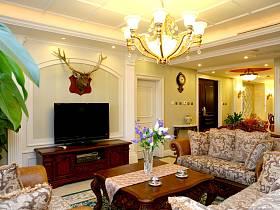 欧式客厅吊顶电视背景墙设计图