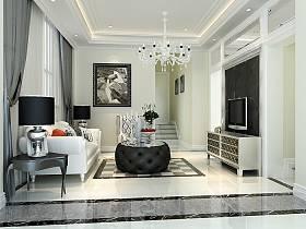 新古典古典新古典风格古典风格客厅别墅吊顶电视背景墙效果图