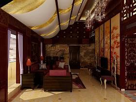 中式客厅吊顶电视背景墙设计图