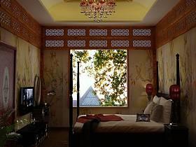 中式卧室吊顶电视背景墙设计方案