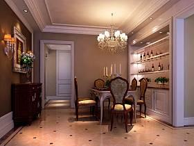 古典餐厅吊顶酒柜设计图