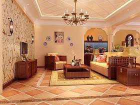 美式客厅别墅吊顶电视背景墙图片