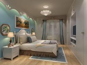 混搭卧室吊顶电视背景墙设计案例展示