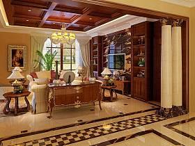 古典客厅别墅吊顶电视背景墙装修案例