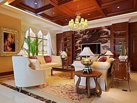古典客厅别墅吊顶电视背景墙装修图