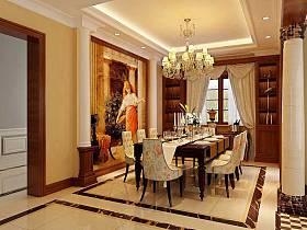 古典餐厅别墅吊顶设计案例展示