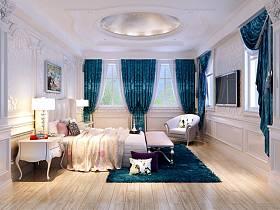 新古典卧室吊顶窗帘电视背景墙设计案例展示