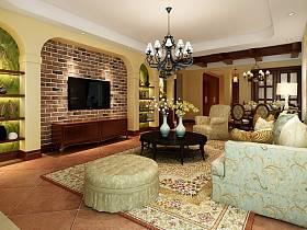 美式客厅吊顶电视背景墙设计案例