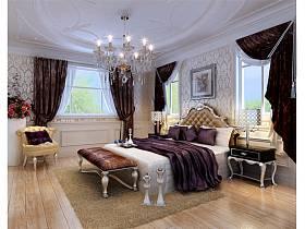 新古典卧室吊顶窗帘设计方案