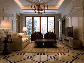 新古典客厅吊顶电视背景墙效果图
