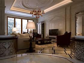 新古典客厅吊顶电视背景墙图片