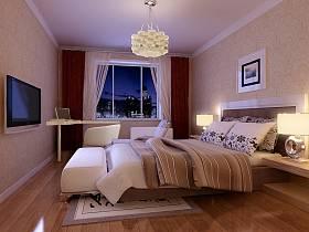现代卧室吊顶电视背景墙设计图
