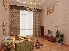欧式客厅吊顶窗帘电视背景墙案例展示