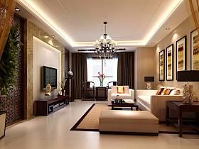 中式客厅吊顶背景墙沙发装修案例