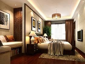 中式卧室电视背景墙装修效果展示