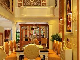 欧式餐厅吊顶酒柜案例展示