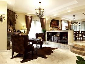 美式客厅休闲区装修效果展示