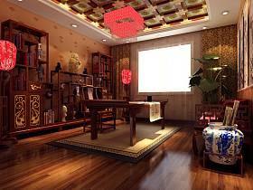 中式书房交换空间吊顶效果图
