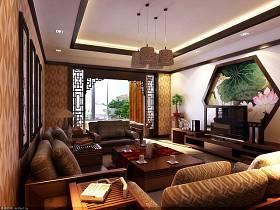 中式中式风格客厅吊顶电视背景墙装修效果展示