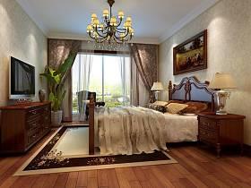 欧式卧室吊顶窗帘电视柜案例展示