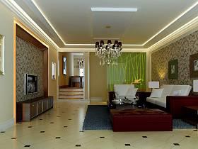 欧式客厅吊顶电视背景墙装修案例