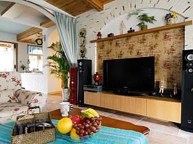 田园客厅电视墙装修案例