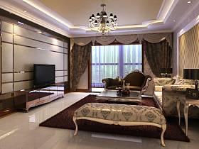 欧式客厅吊顶窗帘电视背景墙效果图