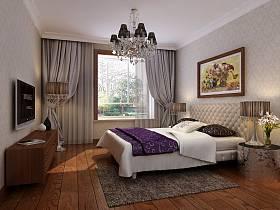 欧式卧室吊顶窗帘电视背景墙设计方案