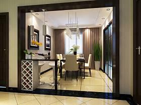 现代餐厅吊顶窗帘酒柜设计案例展示