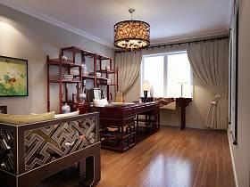 中式书房交换空间吊顶窗帘装修案例