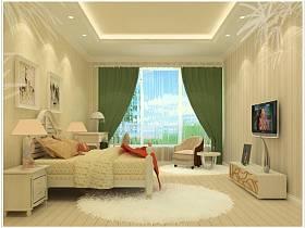 欧式卧室吊顶电视背景墙装修案例