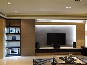 现代客厅三室两厅两卫电视背景墙设计案例