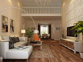 客厅复式楼沙发电视柜电视背景墙设计案例展示
