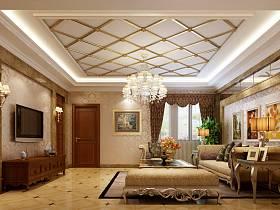 歐式客廳別墅沙發電視柜茶幾電視背景墻效果圖
