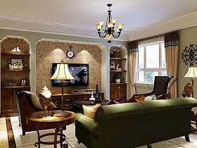 美式乡村风格客厅单身公寓吊顶电视背景墙设计方案