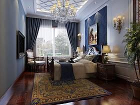 欧式欧式风格卧室别墅老人房吊顶窗帘设计案例