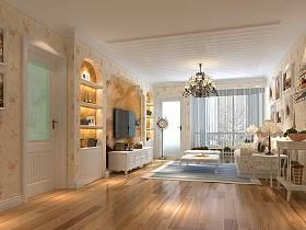 田园田园风格客厅单身公寓吊顶电视背景墙设计方案
