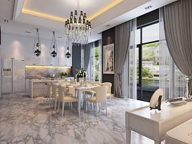现代现代风格餐厅吊顶窗帘设计方案