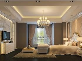 现代现代风格卧室吊顶电视背景墙设计方案
