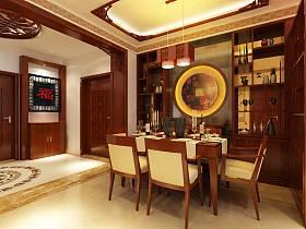 中式中式风格餐厅吊顶酒柜装修图