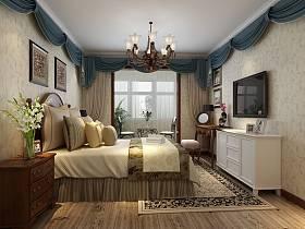 欧式卧室复式楼吊顶窗帘装修案例