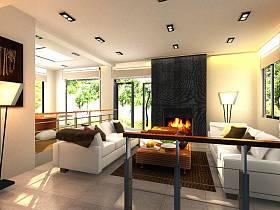 现代现代风格客厅别墅装修案例