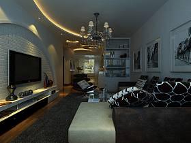 现代现代风格客厅吊顶电视背景墙案例展示
