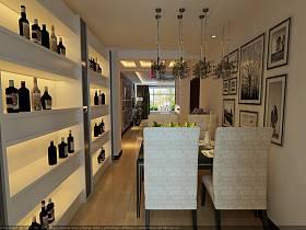 现代现代风格餐厅吊顶酒柜装修案例