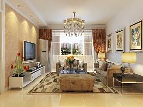 現代客廳吊頂電視柜電視背景墻設計案例