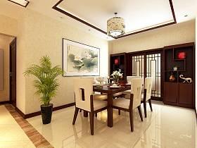 中式餐厅三室两厅两卫吊顶装修图