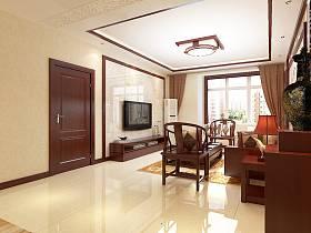中式客厅吊顶窗帘电视柜电视背景墙设计图