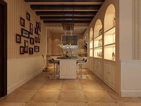 地中海餐厅吊顶酒柜设计案例